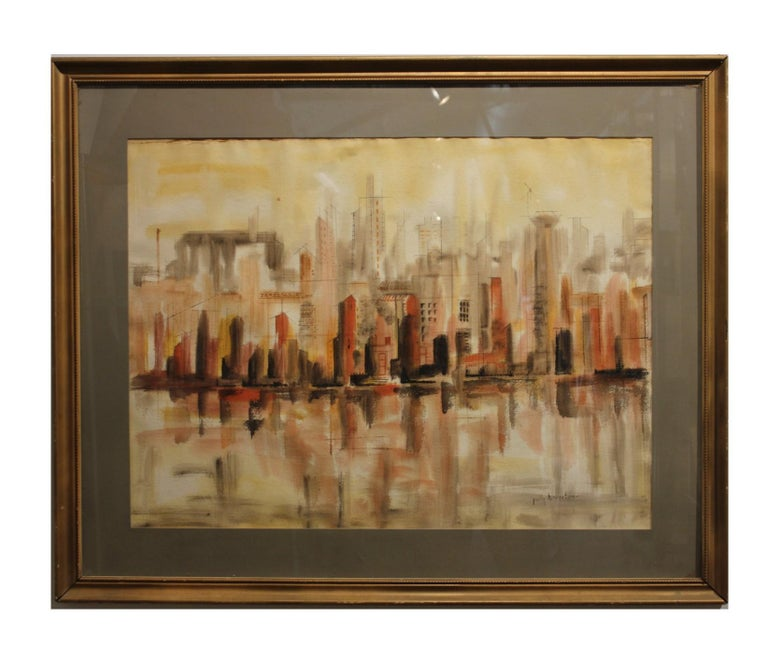 """Polly Howerton Landscape Art - """"Cityscape"""" in Warm Tones with a Reflecting Pool"""