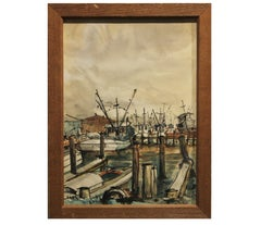 """Kemah"" Seascape with Boats at the Dock"