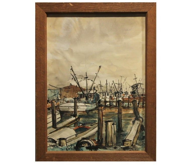 "Perry Landscape Art - ""Kemah"" Seascape with Boats at the Dock"