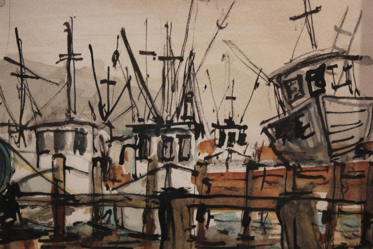 Watercolor painting with boats at a dock in Kemah, Texas. The painting is in natural tones of blue and browns. The artist signed, dated and titled the painting. The artist Perry is most likely a Texas artist.  Dimensions without Frame: H 19.5 in x W