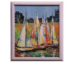 Colorful Sea Boats in an Impressionist Style