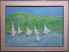 Impressionist Ocean Scene with Sail Boats.