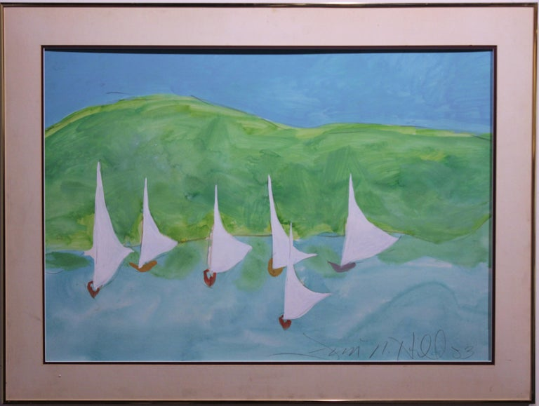 Jim Hill Abstract Painting - Impressionist Ocean Scene with Sail Boats.