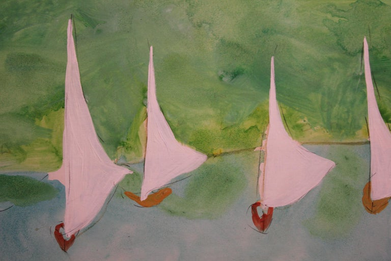 Impressionist Ocean Scene with Sail Boats. - American Impressionist Painting by Jim Hill
