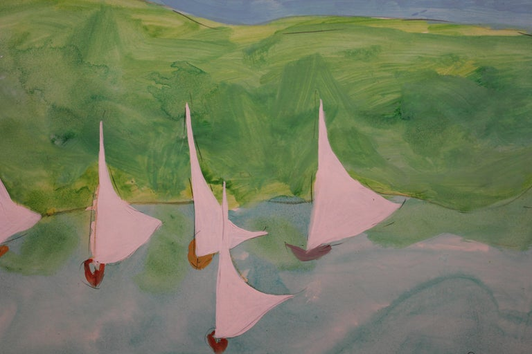 Impressionist Ocean Scene with Sail Boats. - Gray Abstract Painting by Jim Hill