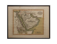 """Arabia Hand Painted Map Engraving From """"New and Correct English Atlas"""""""