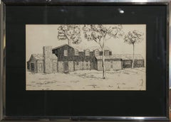 Ink Drawing of a Farm House by Houston Artist