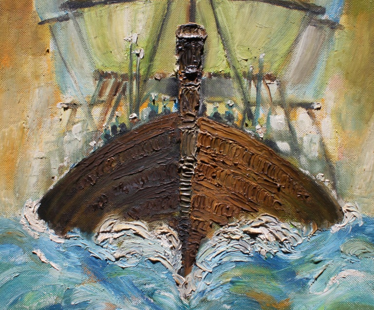 Colorful textured impressionist painting of a ship out at sea. The painting has a unique perspective of a ship giving it an ominous view point. The painting is framed in a gold frame. It is signed, dated, and titled by the artist. Paul Sprohge is a