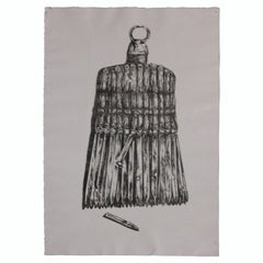 Surrealist Drawing of a Broom in the Style of Avigdor Arikha