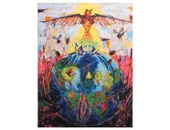 """One World Pond"" Surrealist Animal World Painting"