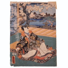 Seated Women with Cherry Tree Japanese Woodblock Print