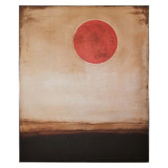 Contemporary Minimal Earth Tonal Landscape with a Red Sun or Moon