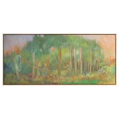 Pastel Impressionist Forest Landscape with Figures
