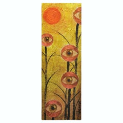Surrealist Yellow Painting with Trees and Eyes
