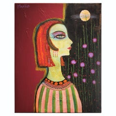 Abstract Side Profile Portrait of a Women with Flowers