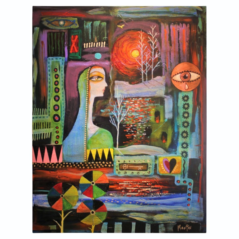 Larry Martin Abstract Painting - Abstract Surrealist Painting with a Female Figure