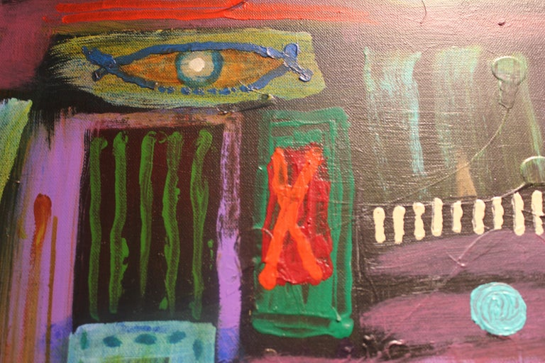 Abstract Surrealist Painting with a Female Figure For Sale 5