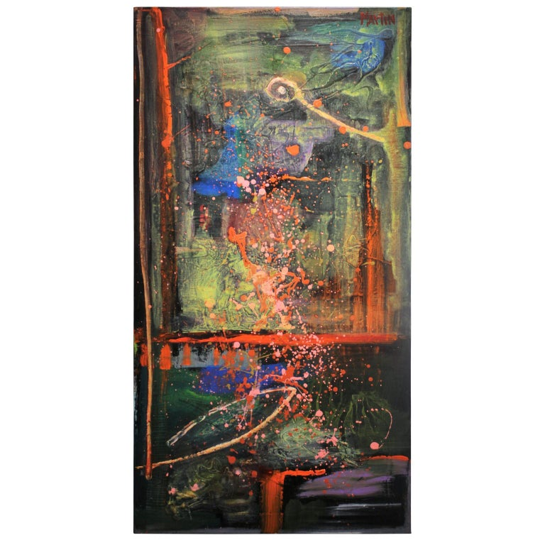 Contemporary abstract expressionist painting with deep blues, greens, and pink splatters. The work is signed by artist Larry Martin who lives and works in Houston, Texas. The canvas is not framed.