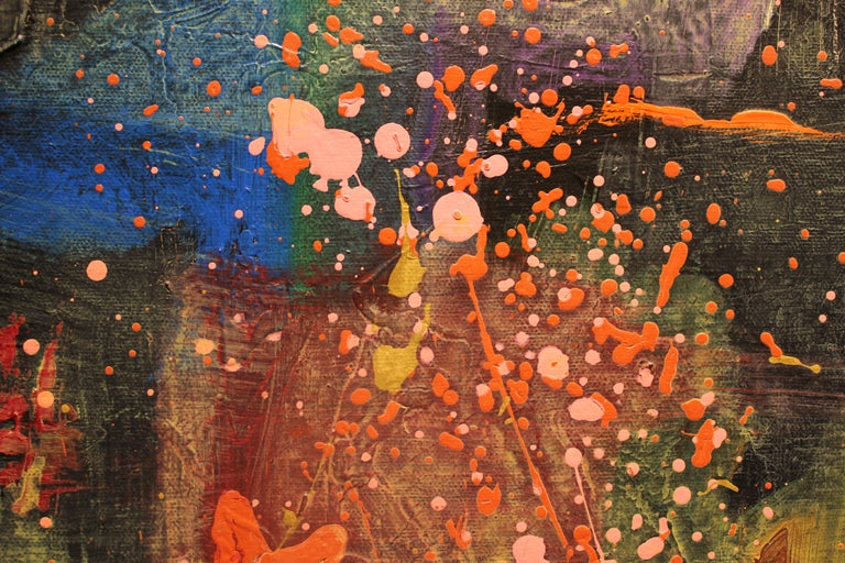 Deep Tonal Abstract Expressionist Painting with Pink Splatter For Sale 1
