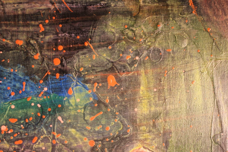 Deep Tonal Abstract Expressionist Painting with Pink Splatter For Sale 3