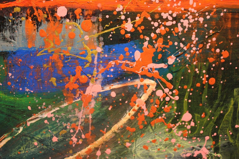 Deep Tonal Abstract Expressionist Painting with Pink Splatter For Sale 4