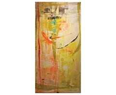 Yellow Abstract Expressionist Painting with Blue and Red Hints