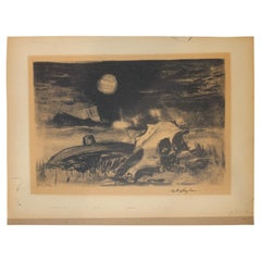 Western Landscape with Cow Skull Lithograph