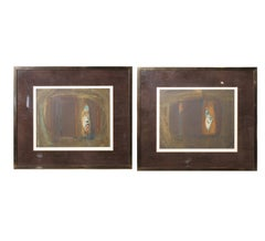Pair of Contemporary Brown and Blue Serigraphs