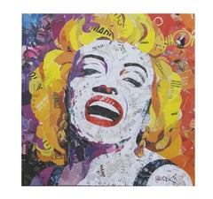 Colorful Pop Assemblage Portrait of Marilyn Monroe