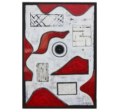 Organic and Geometric Assemblage Painting with Red