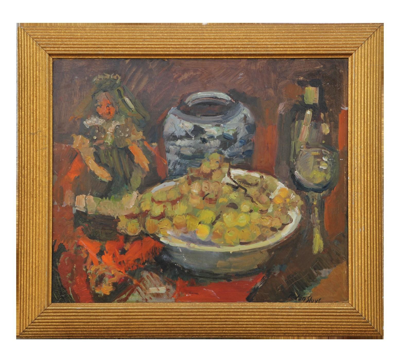 """Raisin"" Impressionist Still Life with Wine and Doll"