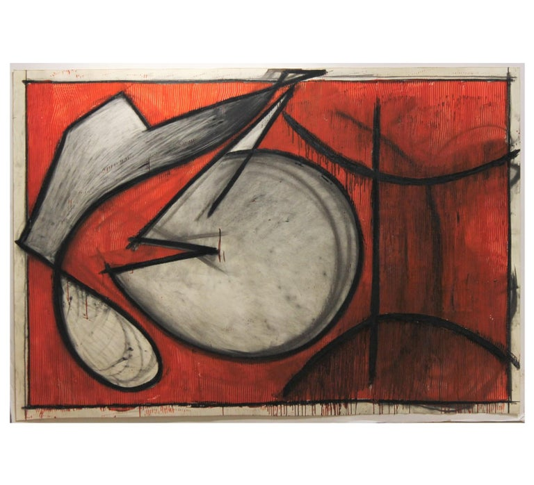 """Sara Stites Abstract Painting - """"Untitled # 84"""" Large Red Toned Geometric Abstract"""