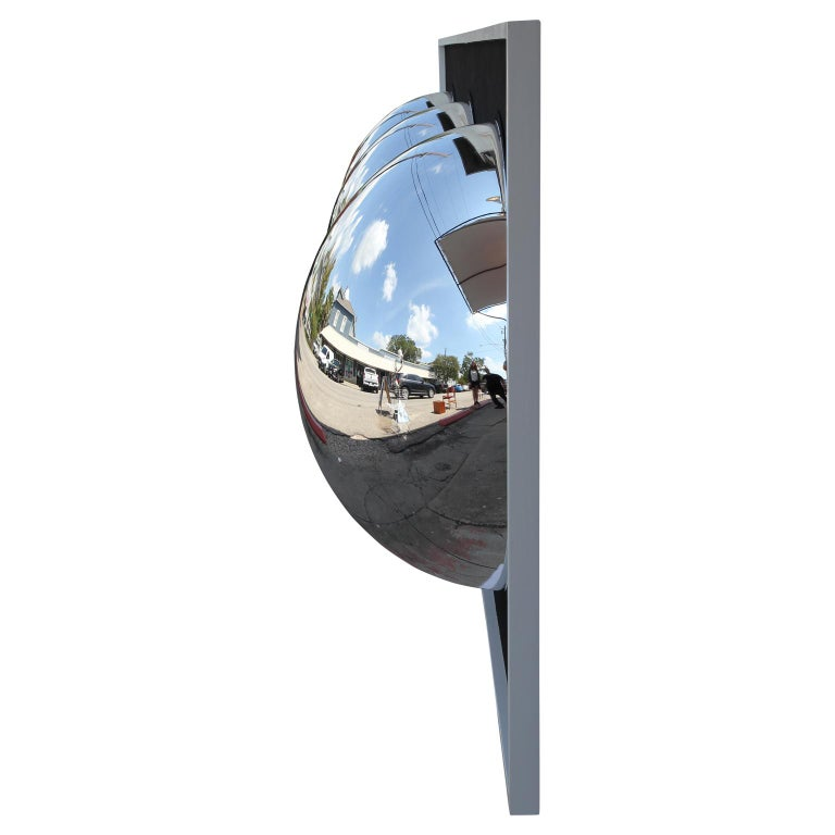 Monumental sized contemporary abstract assemblage painting. The wood is painted an extremely dark matte black with large chrome bubbles bulging from the surface. The Chrome surface is reflective and has a fish-eye effect.