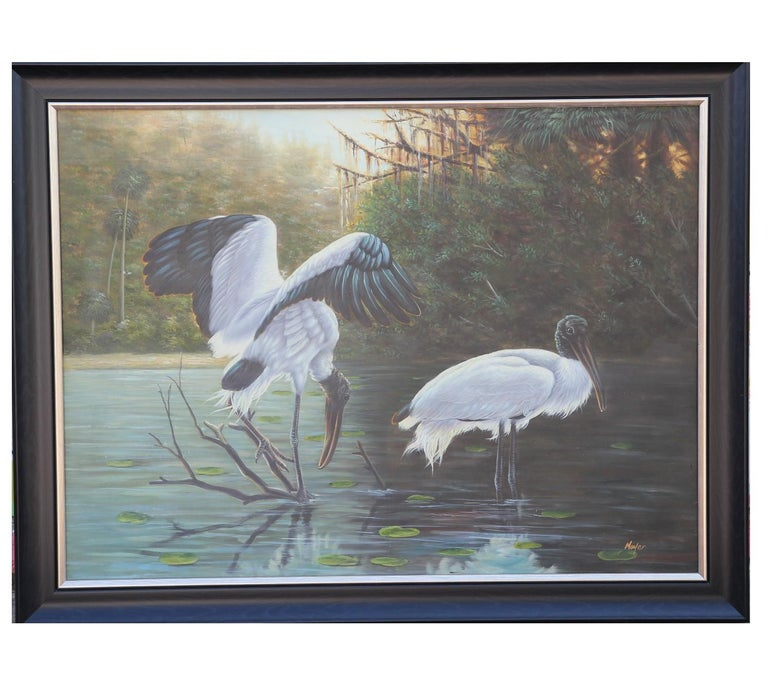 Mayer Animal Painting - Naturalistic Lake Landscape with Cranes
