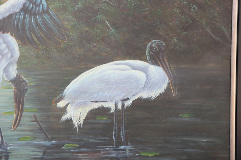 Naturalistic Lake Landscape with Cranes  - Gray Animal Painting by Mayer