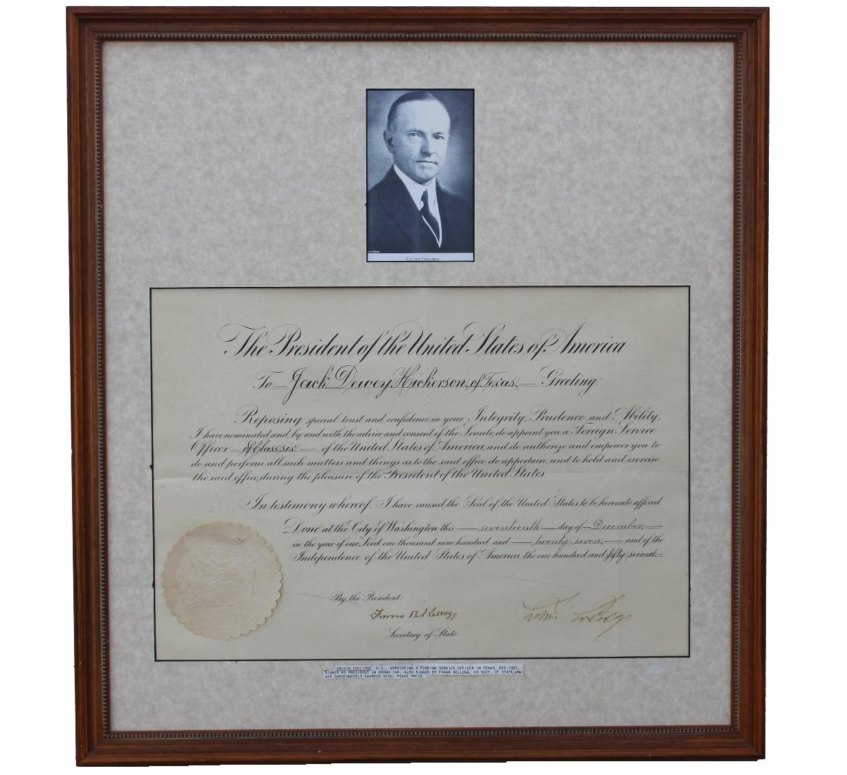 Presidential Seal with Calvin Coolidge Signed Document