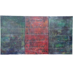 Contemporary Two Toned Triptych with Calligraphy