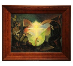 Cubist Crucifixion Scene with Bright Yellow