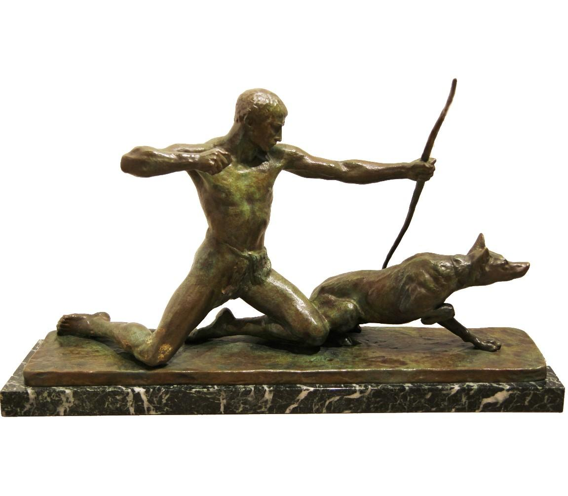 """""""Hunter"""" Figurative Bronze Sculpture with Marble Base"""