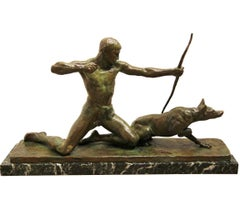 """Hunter"" Figurative Bronze Sculpture with Marble Base"