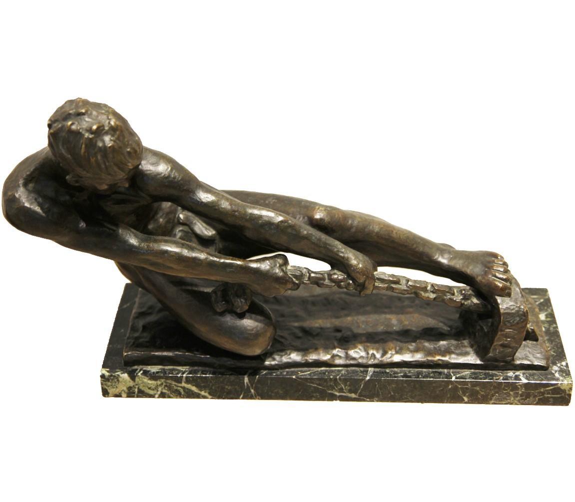 Figurative Male Bronze Tugging on a Chain