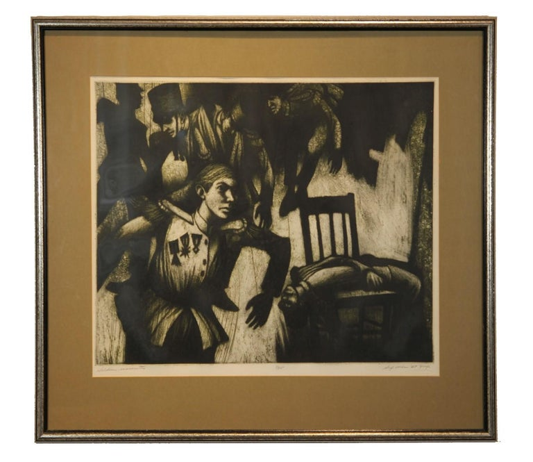 "Donald Sexauer Abstract Print - ""Soldier Marionettes"" Surrealist Figurative Lithograph"