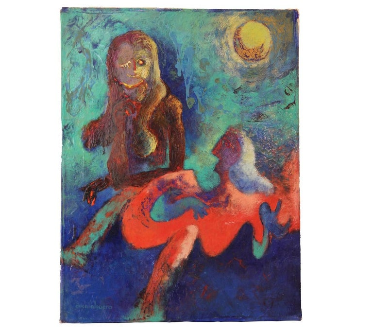 """Chica Salguero Abstract Painting - """"Serenata with Moon"""" Abstracrt Figurative Painting"""