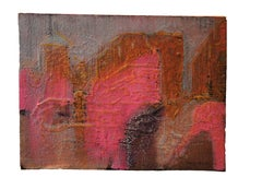 Abstract Expressionist Pink Landscape Painting