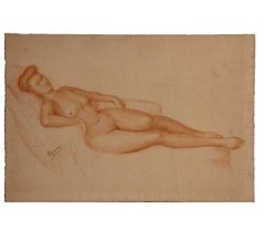 French Reclining Nude Woman Study