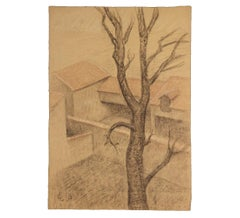 Early French Townscape with Tree