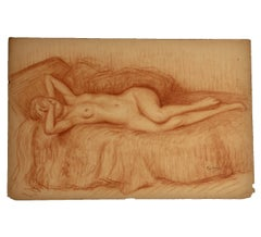 Reclining Nude Woman Covering Her Face