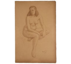Seated Nude Woman Naturalistic Study