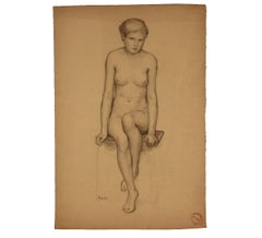 French Nude Woman Seated on a Bench Study