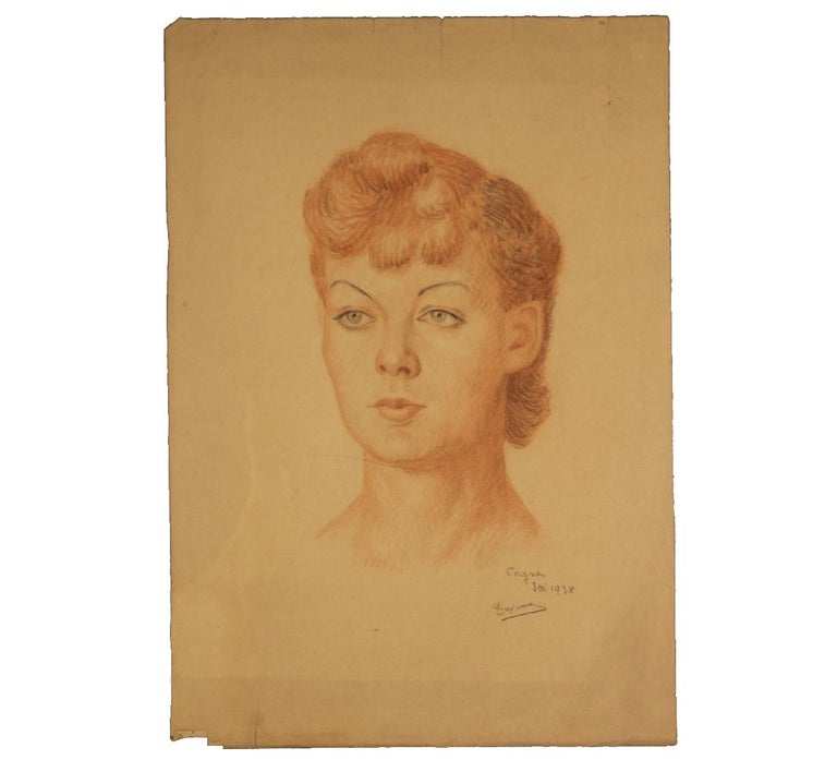 Early Portrait of a French Woman - Art by Emile Lejeune